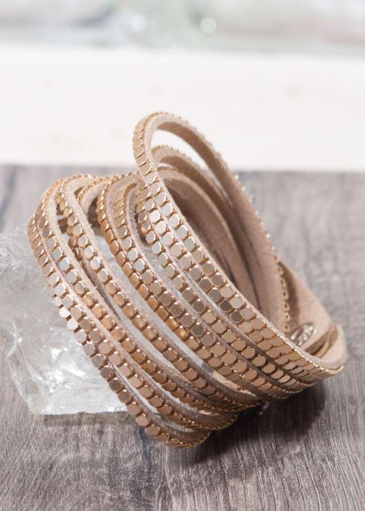 Microsuede Snap Wrap Bracelet - Gold