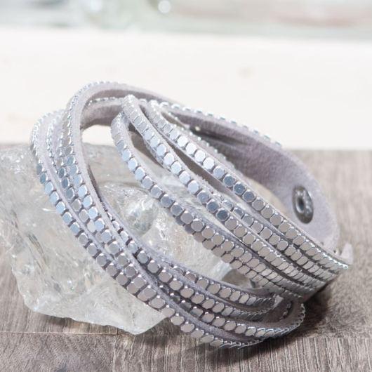 Microsuede Snap Wrap Bracelet - Silver