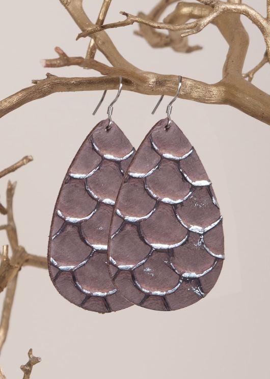 Leather Teardrop Earring - Brown