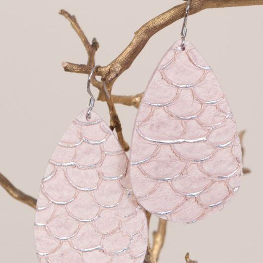 Leather Teardrop Earring - Blush