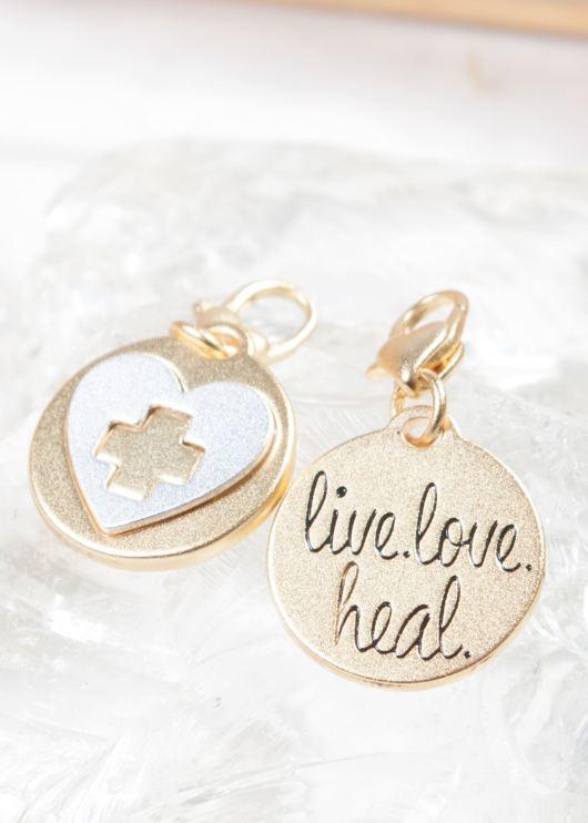 Gold 2-Tone Medallion - Live Love Heal, Cross Heart