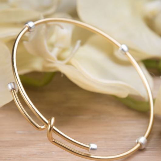 2-Tone Adjustable Bangle - Gold with Silver