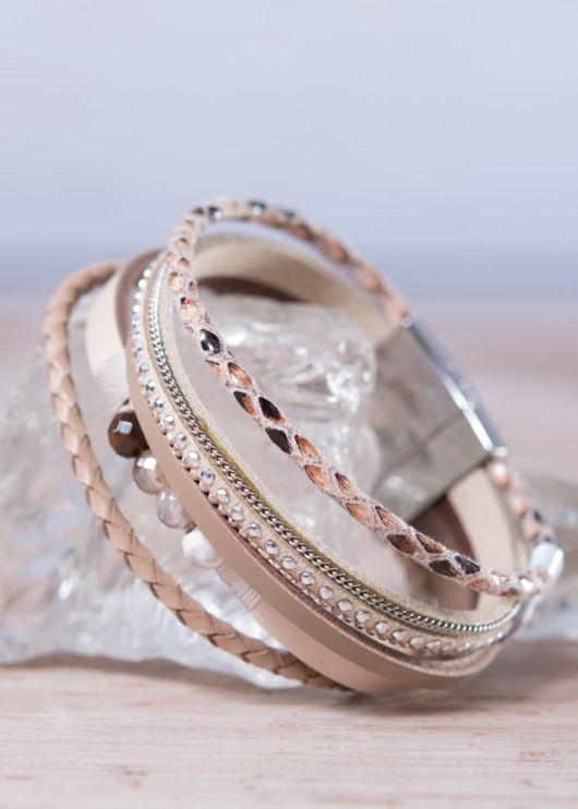 Leather Cuff Bracelet - Beige Rope