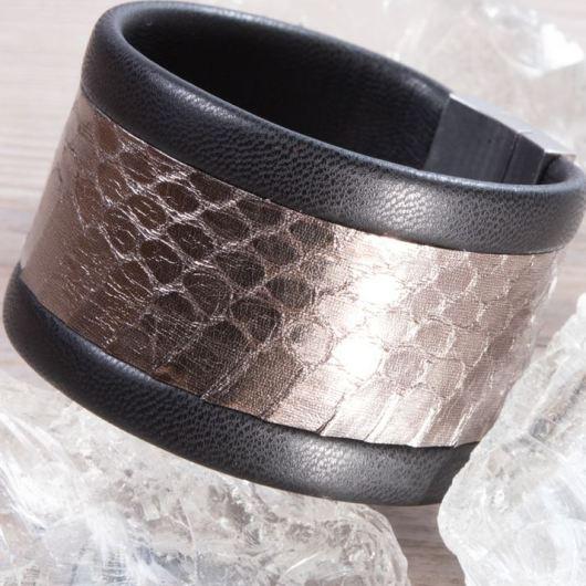 Leather Cuff Bracelet - Wide Bronze Snake