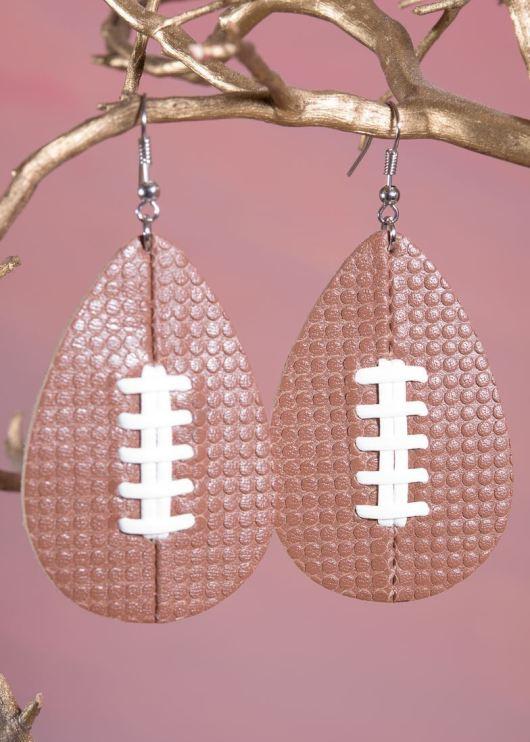 Leather Teardrop Earring - Football