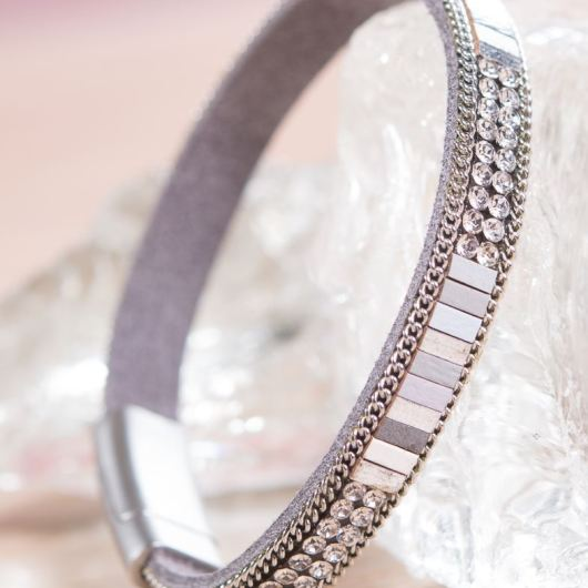 Thin Leather Cuff Bracelet - Dove Crystal