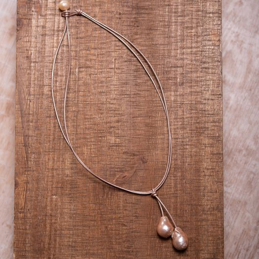 Baroque Pearl Drop Leather Necklace - Rose Gold