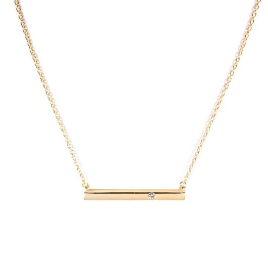 Bar Necklace with Single CZ - Gold