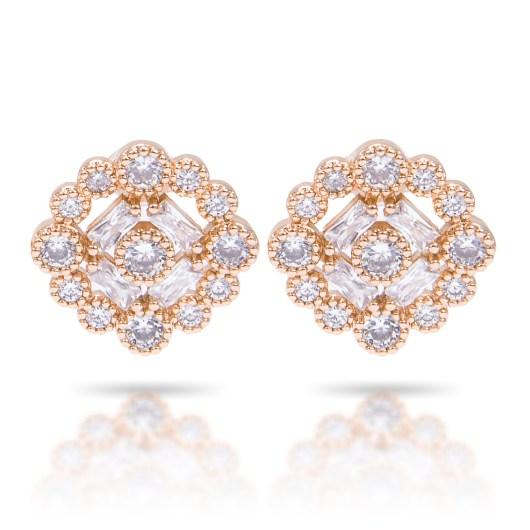 Bezel Halo Stud Earrings - Gold