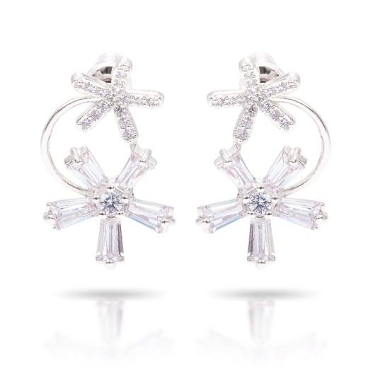 Double Flower Drop Earrings - Silver