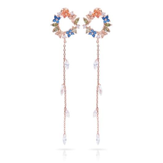 Colorful Drop Long Earrings - Rosegold Blue/Orange