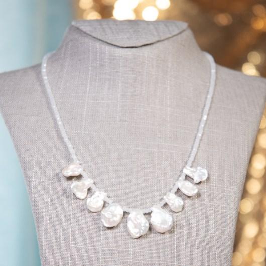 Irregular Pearl Shimmer Necklace - Natural White