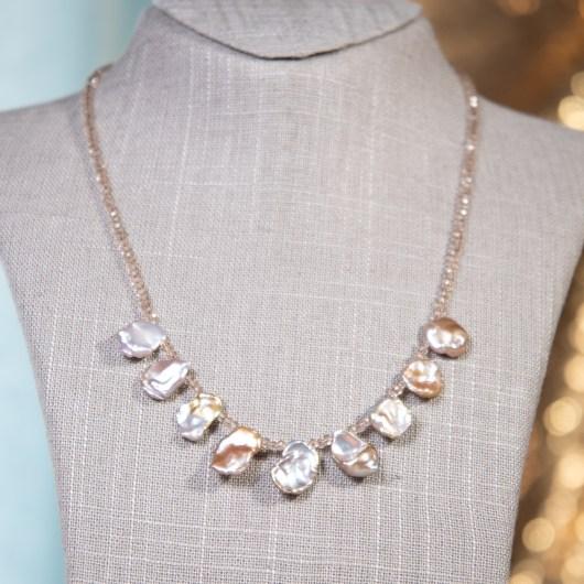 Irregular Pearl Shimmer Necklace - Natural Lavender