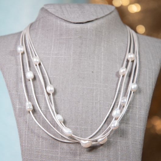 Leather & Pearl Floating Necklace - Silver