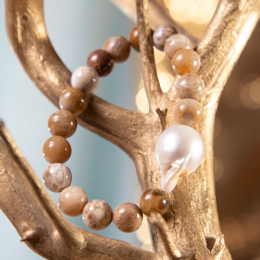 Baroque Pearl & Agate Stretch Bracelet - Black