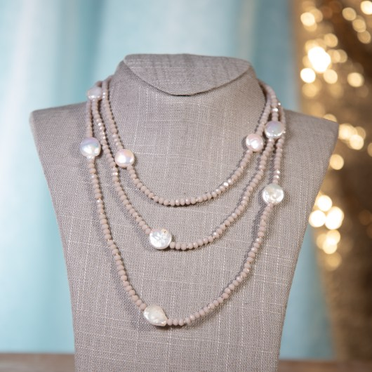 Coin Pearl Shimmer Necklace - Taupe