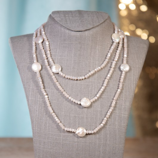 Coin Pearl Shimmer Necklace - Blush