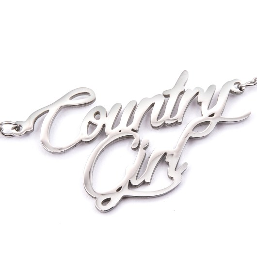 Stainless Steel Word Necklace - Country Girl