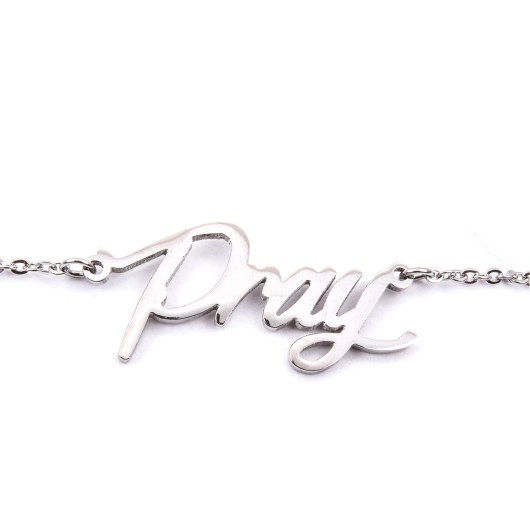 Stainless Steel Word Necklace - Pray