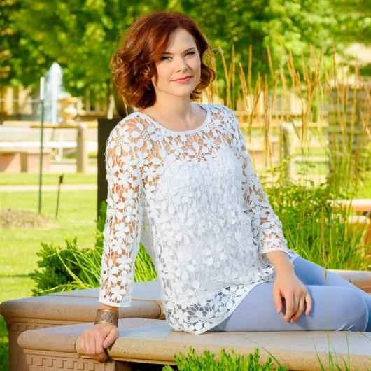 Daisy Crochet Tunic with Cami 2X - White