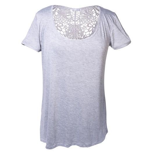 Lace Back Short Sleeve Tee Size 2XLarge - Gray