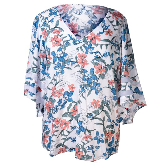 Sheer Sleeve Top with Flowy Sleeves Size 2XLarge - Mint