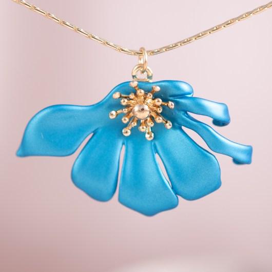 Half Flower Necklace - Pearl Aqua