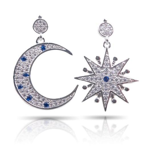 Star & Moon Drop Earrings Silver