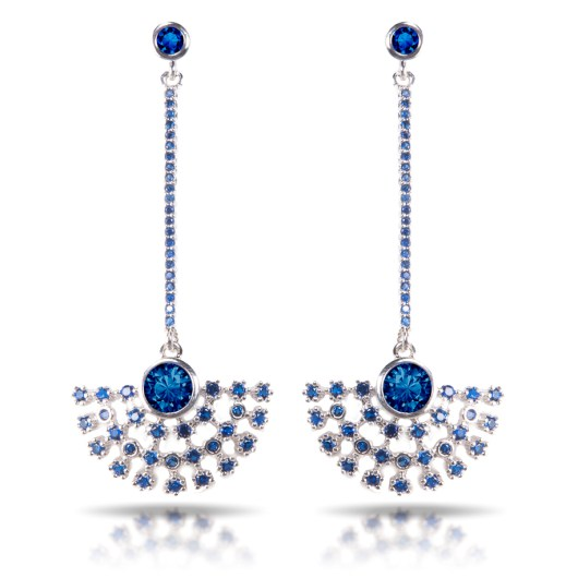 Fan Drop Earrings - Silver