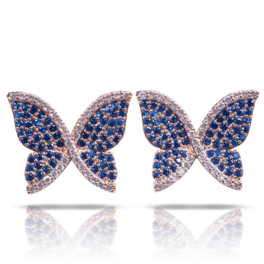 Butterfly Post Earrings - Rosegold