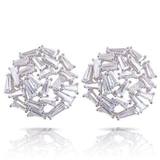 Baguette Collage Earrings - Silver