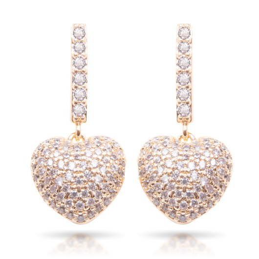 Pave Heart Drop Earrings - Gold