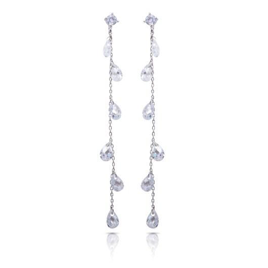Crystal Tear Drop Long Earrings - Silver
