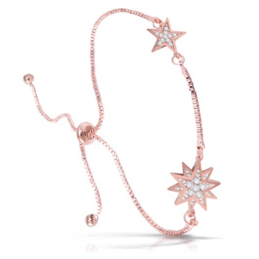 Two Stars Adjustable Bracelet - Rosegold