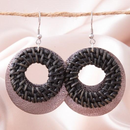 Woven Leather Open Hoop Earring - Black
