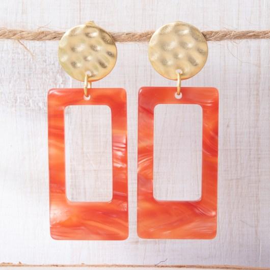 Open Rectangle Earrings - Orange