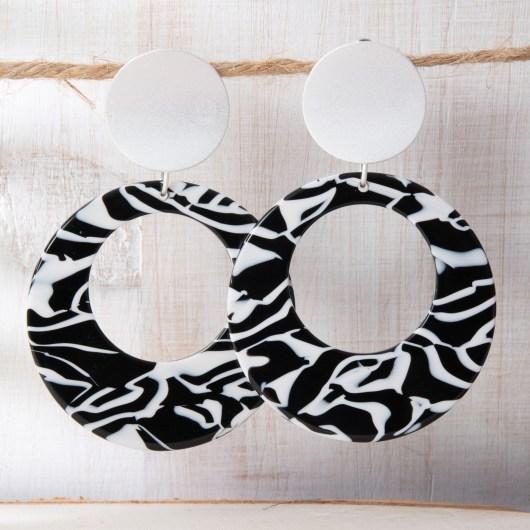 Open Hoop Drop Earrings - Zebra