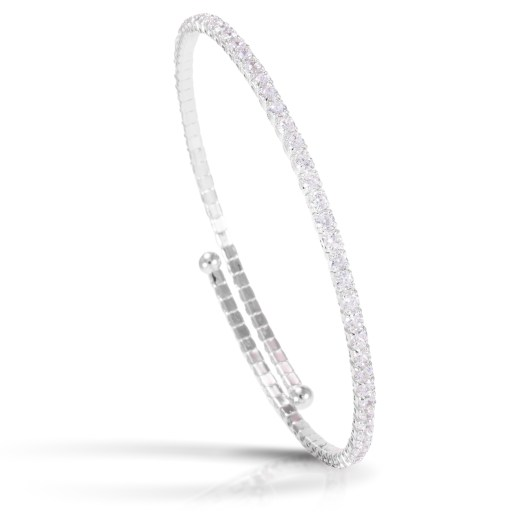 Single Spiral Bracelet - Rhodium