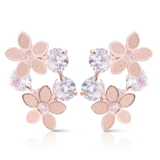 Double Flowers with Crystals Earrings - Rosegold