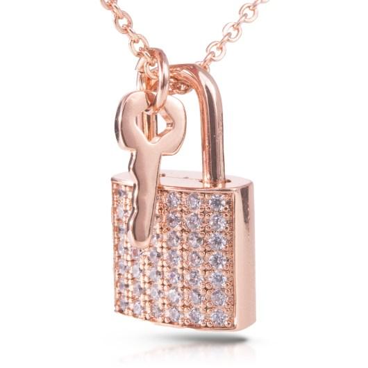 Lock & Key Necklace - Rosegold