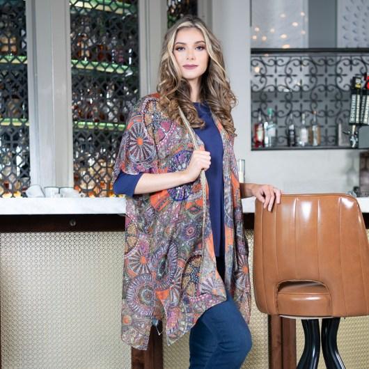 Geometric Print Kimono - Orange/Lilac Sequin