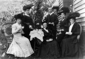 1900s women having a tea party