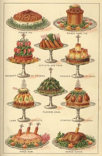 Fancy hams and meats from Mrs. Beetons Cookbook 1901