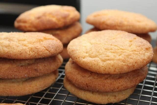 stacks of snickerdoodle cookies