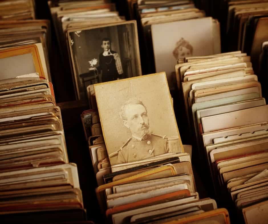 Box of photos of ancestors