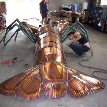 amanda_feher_sculpture_public_art_Ray_The_Cray_Copper_in_progress