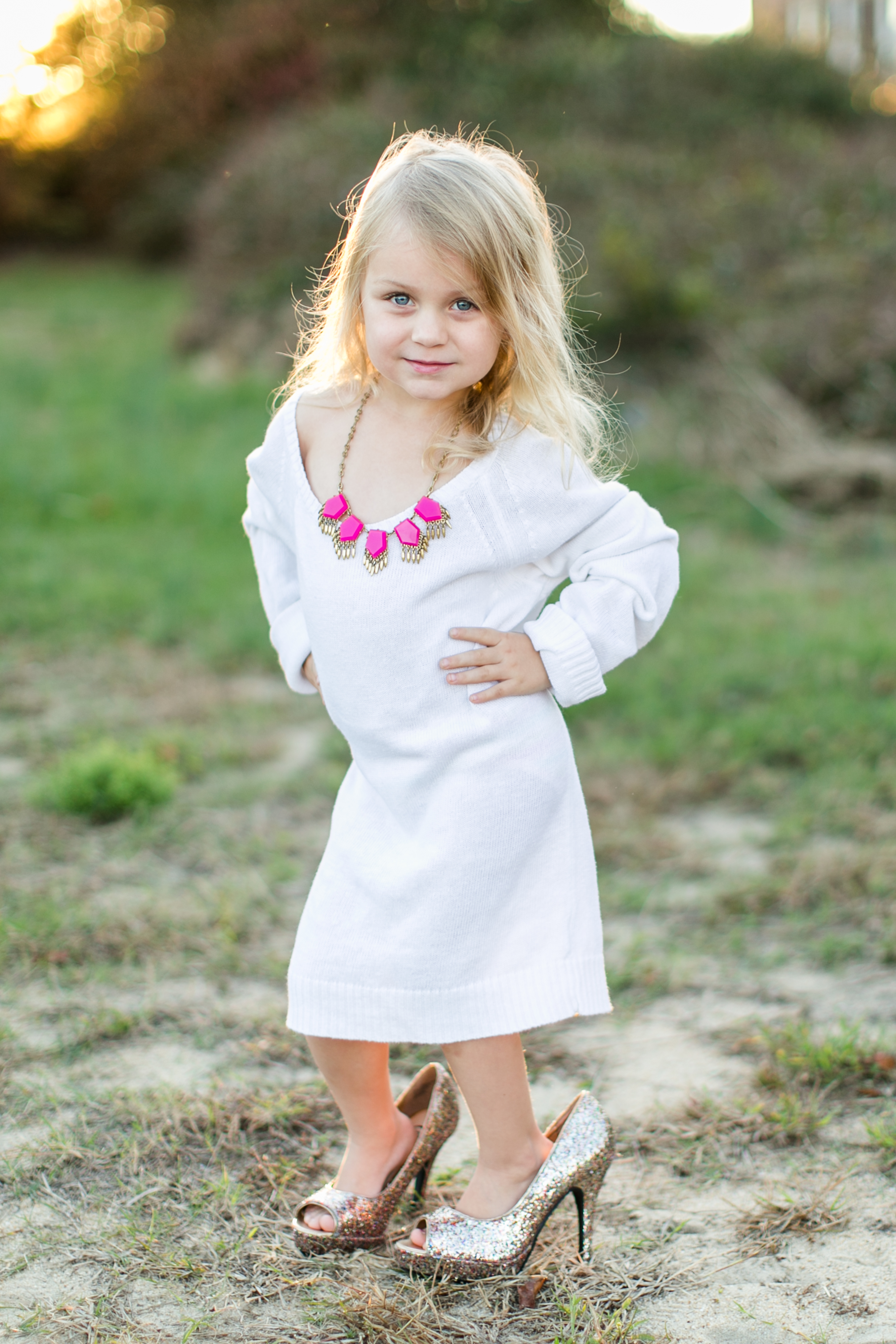 Four Year Two Year Community: White Sweater & Glittery Heels Project