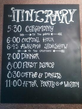 Robbins Durst Wedding 07/2014 Itinerary