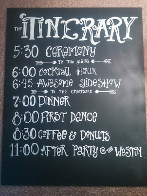 Robbins Durst Wedding 07/2014 Itinerary