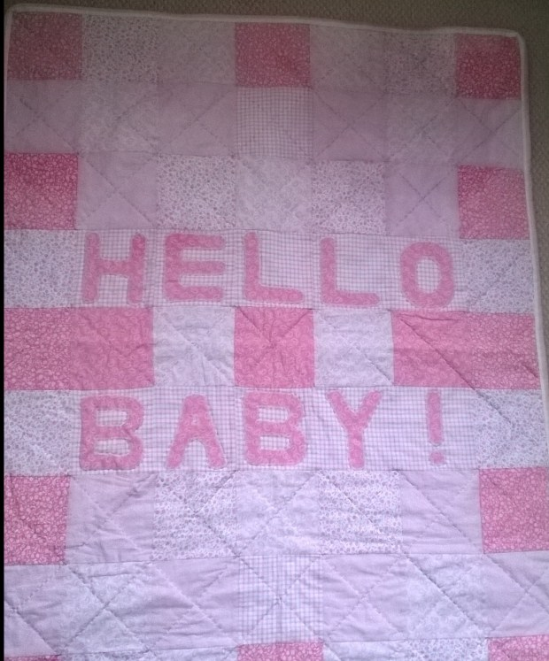 pink Hello Baby quilt
